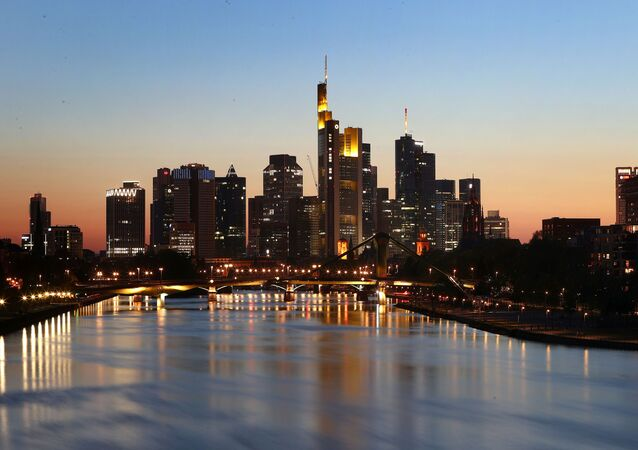 The skyline with its financial district is photographed during sunset in Frankfurt, Germany, April 22, 2020, as the spread of the coronavirus disease (COVID-19) continues