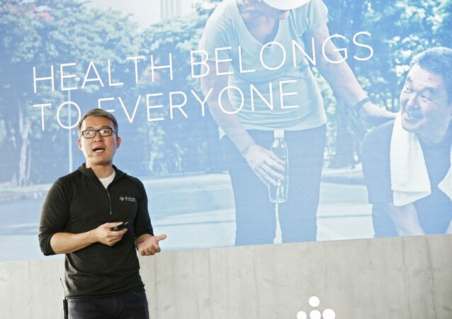 James Park, CEO and Co-Founder of Fitbit, announces new products as Fitbit announces its fall device and software lineup, including Fitbit Premium, innovative sleep tools, the full-featured Fitbit Versa 2 smartwatch with Amazon Alexa Built-in, and its affordable Aria Air smart scale on Tuesday, Aug. 27, 2019 in New York.