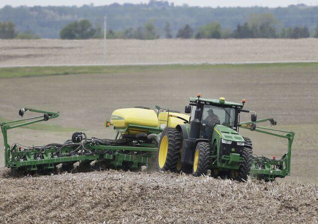 Farmer in a field in Springfield, Nebraska