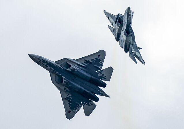Su-57 fifth-generation fighter jets in Zhukovsky