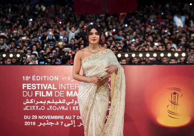 Indian actress Priyanka Chopra attends her tribute on Jemaa El Fnaa square during the 18th Marrakech International Film Festival on December 5, 2019 in Marrakech.