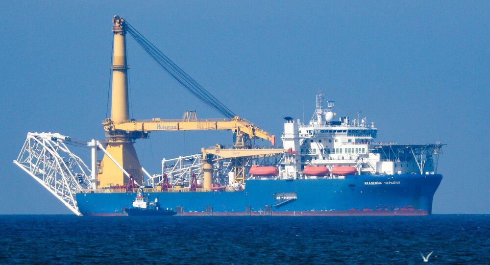 The Russian pipe layer vessel Akademik Cherskiy is pictured in the waters of Kaliningrad, Russia