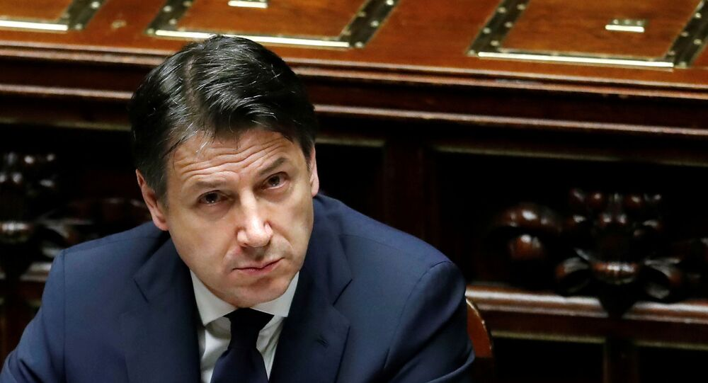 Italian Prime Minister Giuseppe Conte attends a session of the lower house of parliament on the coronavirus disease (COVID-19) in Rome, Italy April 21, 2020.