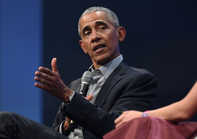 In this file photo taken on September 29, 2019, former US President Barack Obama speaks during the Bits & Pretzels start-ups and founder congress in Munich, Germany