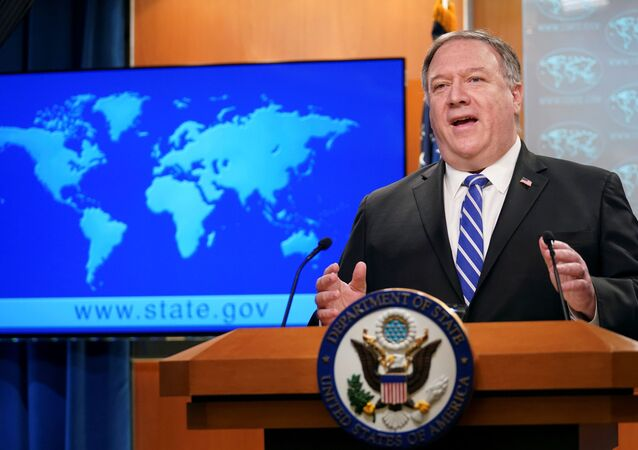 U.S. Secretary of State Mike Pompeo speaks about the coronavirus disease (COVID-19) during a media briefing at the State Department in Washington, U.S., May 6, 2020