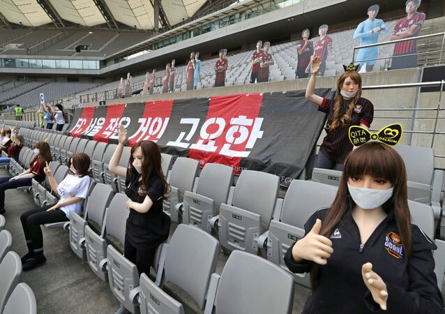 Mannequins are placed in spectator seats to cheer South Korea's football club FC Seoul team during a match against Gwangju FC, which is held without fans due to the coronavirus disease (COVID-19) outbreak, in Seoul, South Korea, May 17, 2020