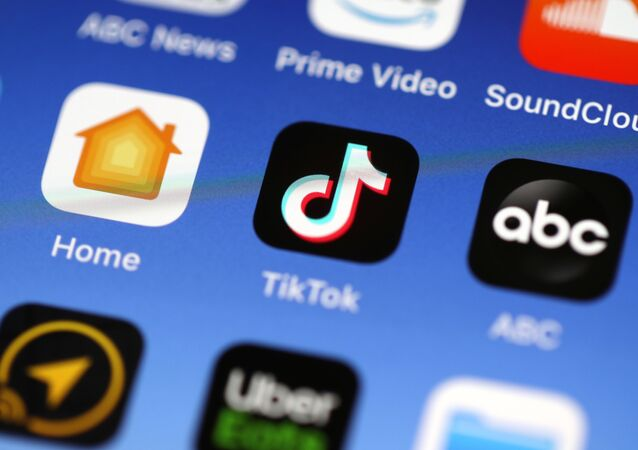 In this photo illustration, the Tik Tok app is displayed on an Apple iPhone on November 01, 2019 in San Anselmo, California
