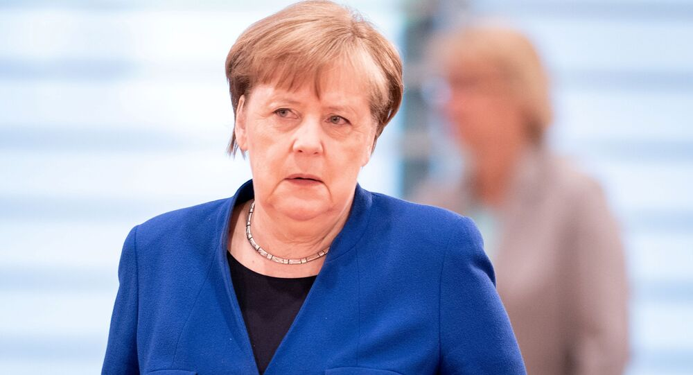 German Chancellor Angela Merkel attends the weekly cabinet meeting, as the spread of the coronavirus disease (COVID-19) continues, in Berlin, Germany, 13 May 2020.