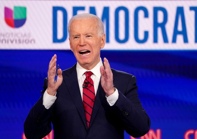 Democratic US presidential candidate and former Vice President Joe Biden speaks during the 11th Democratic candidates debate of the 2020 U.S. presidential campaign, held in CNN's Washington studios without an audience because of the global coronavirus pandemic, 15 March 2020