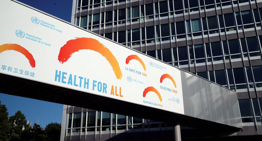 A banner is pictured at the headquarters of the World Health Organisation (WHO) during the World Health Assembly (WHA) following the outbreak of the coronavirus disease (COVID-19), in Geneva, Switzerland, 18 May 2020.