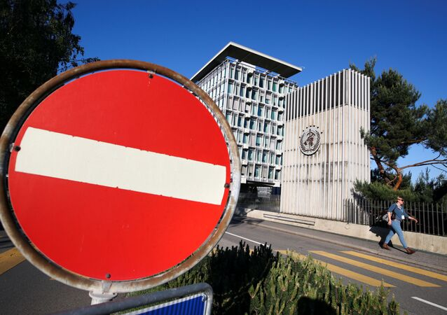 A sign is pictured outside the headquarters of the World Health Organization (WHO) during the World Health Assembly (WHA) following the outbreak of the coronavirus disease (COVID-19) in Geneva, Switzerland, May 18, 2020