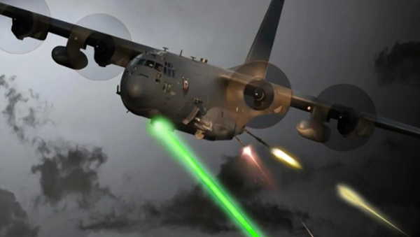 An Air Force Special Operations Command photo illustration of a laser-equipped AC-130J Ghostrider gunship in action - Sputnik International