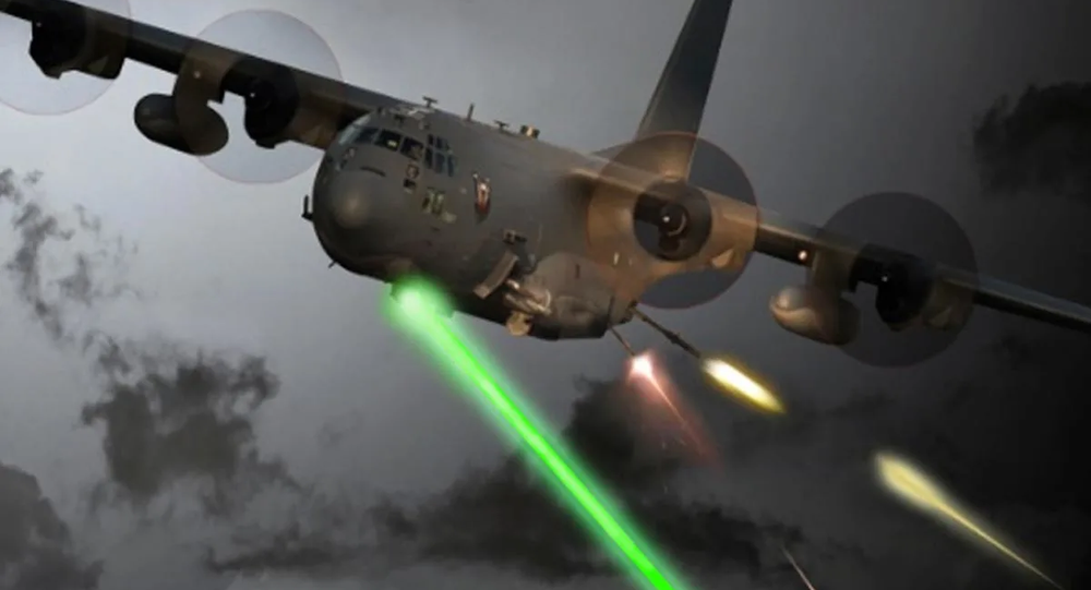 An Air Force Special Operations Command photo illustration of a laser-equipped AC-130J Ghostrider gunship in action