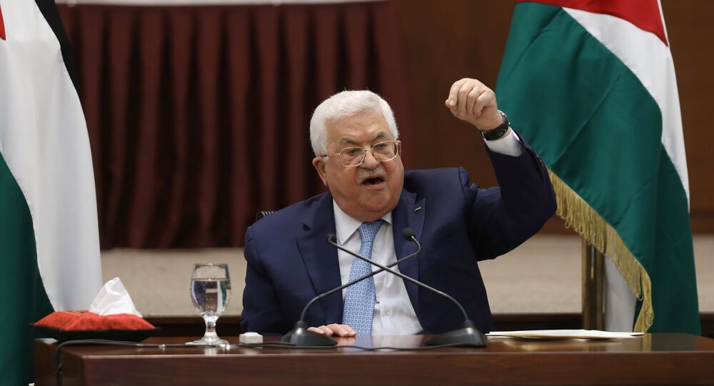 Palestinian President Mahmoud Abbas speaks during a leadership meeting in Ramallah, in the West Bank May 19, 2020