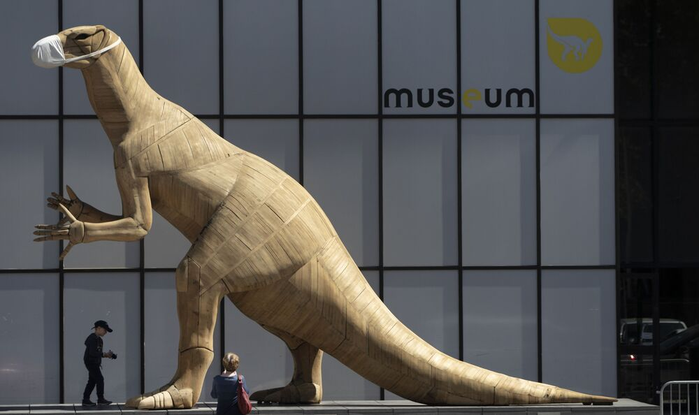 A boy walks by a model of a dinosaur wearing a face mask, during a partial lockdown to prevent the spread of the coronavirus, at the Museum of Natural History in Brussels, 19 May 2020.