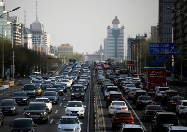 Cars are seen in a traffic jam during evening rush hour in Beijing, as the country is hit by an outbreak of the novel coronavirus (COVID-19), China April 8, 2020.
