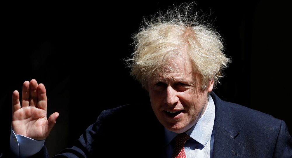 Britain's Prime Minister Boris Johnson in Downing Street following the outbreak of the coronavirus disease (COVID-19), London, Britain, May 20, 2020.