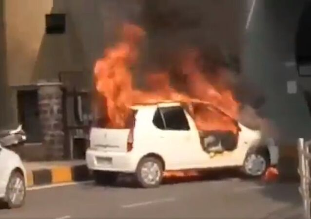 Someone tried to clean the car by spraying the normal sanitizer. And the car burst into flames as soon as it was started!