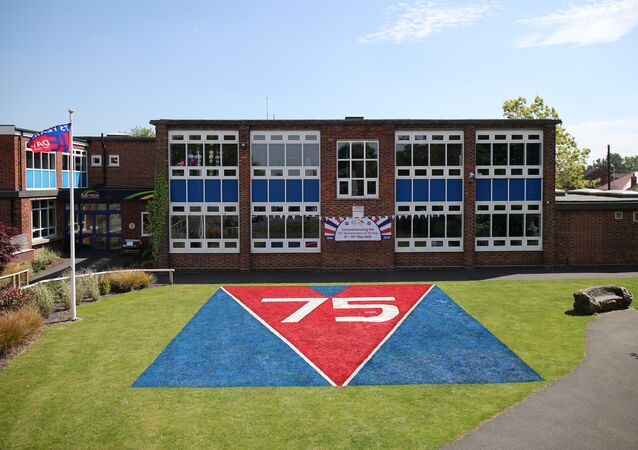 General view of a painting to commemorate the 75th anniversary of VE Day painted by staff of Barnton Primary School, following the outbreak of the coronavirus disease (COVID-19), Barnton, Britain, May 7, 2020. REUTERS/Molly Darlington