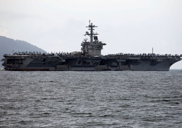 The USS Theodore Roosevelt (CVN-71) is seen while entering into the port in Da Nang, Vietnam, March 5, 2020.