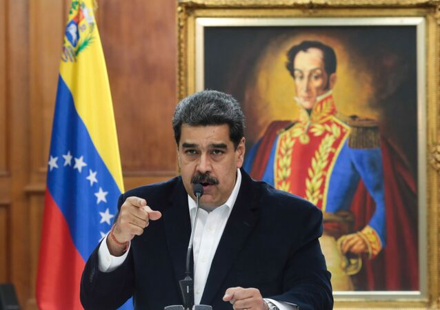 Venezuela's President Nicolas Maduro speaks during in a meeting with the Bolivarian armed forces at Miraflores Palace in Caracas, Venezuela, 4 May 2020