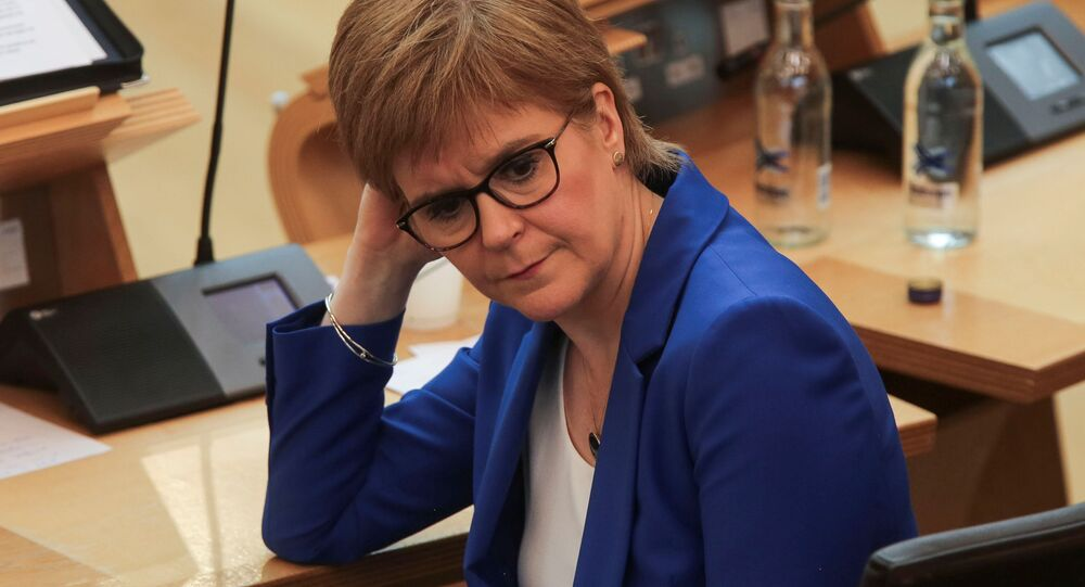 Scotland's First Minister Nicola Sturgeon attends the First Ministers Questions, amid the coronavirus disease (COVID-19) outbreak, at the Scottish Parliament in Edinburgh, Scotland, Britain May 13, 2020