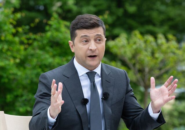 Ukrainian President Volodymyr Zelensky holds press conference on the first anniversary of his presidency, May 20, 2020.
