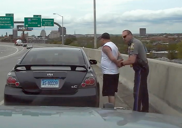 State Trooper Matthew Spina pulls over motorist Kevin Jette