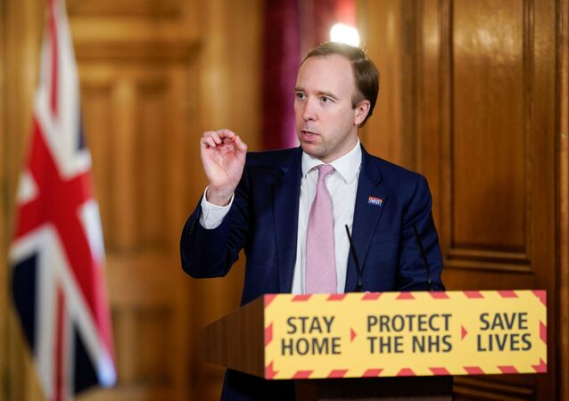 Britain's Health Secretary Matt Hancock chairs the Daily COVID-19 Digital News Conference with Deputy Chief Medical Officer, Professor Jonathan Van-Tam and Professor of Public Health & Epidemiology, Coordinator of the National Testing Effort, Professor John Newton to update on the coronavirus disease (COVID-19) outbreak, at 10 Downing Street in London, Britain May 4, 2020.