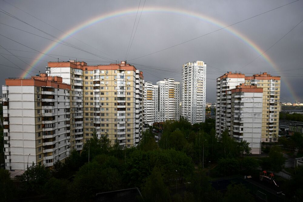 Rainbow over residential buildings in Mitino in Moscow.