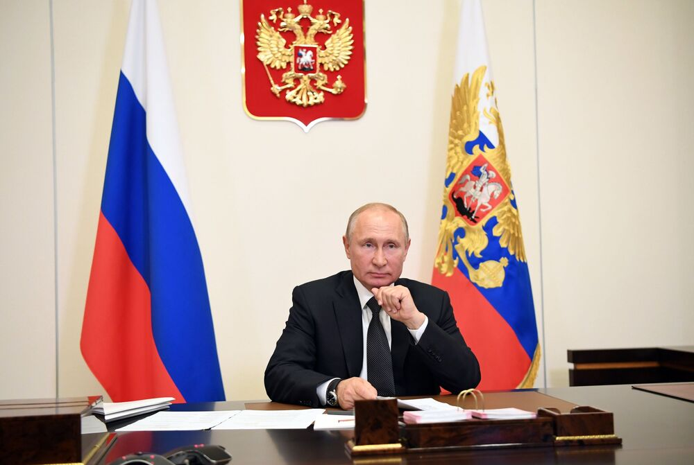 Russian President Vladimir Putin holds a video conference with representatives of the Dagestan republic.