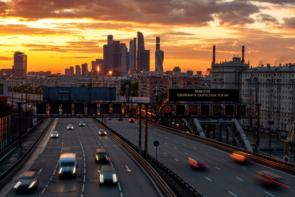Cars move on the third ring road in Moscow.