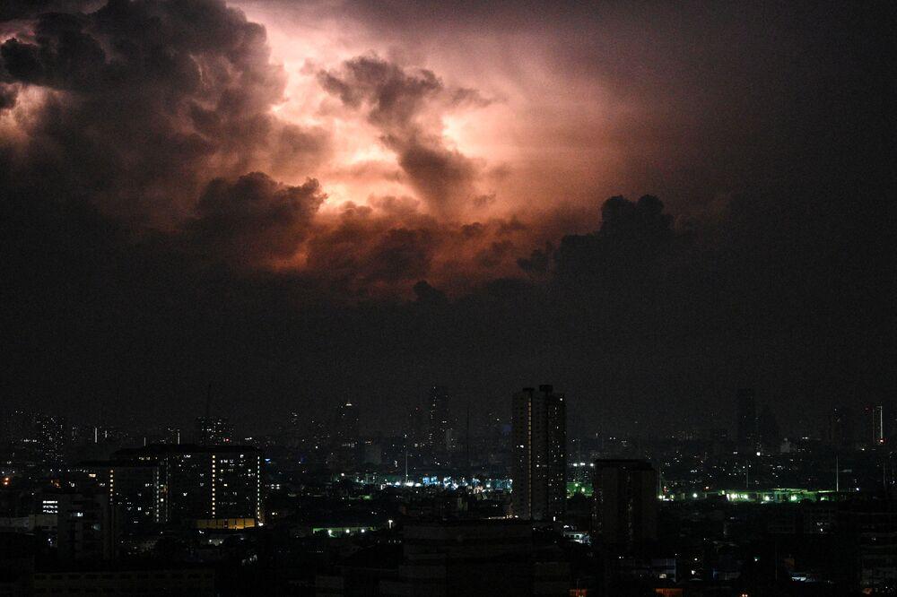 A lightning storm fills the sky near Manila on 20 May 2020.