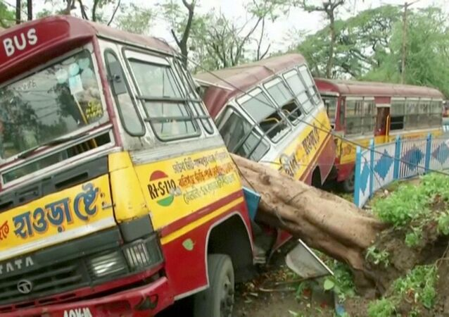 A bus damaged by a fallen tree due to Cyclone Amphan, is seen in Kolkata, West Bengal, India, 21 May 2020
