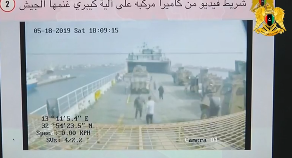 Footage from interior of Turkish vehicle allegedly being shipped to Libya from presentation by the Libyan National Army on the extent of Ankara's involvement in the Libyan war.
