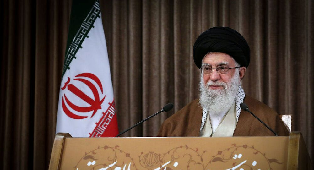 Iran's Supreme Leader Ayatollah Ali Khamenei delivers a live televised speech marking the annual Al-Quds Day (Jerusalem Day), in Tehran, Iran May 22, 2020