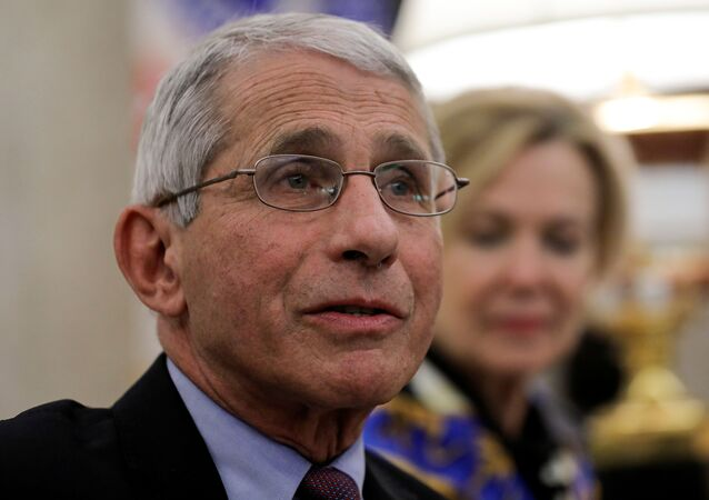 National Institute of Allergy and Infectious Diseases Director Dr. Anthony Fauci speaks during a coronavirus response meeting in the Oval Office at the White House in Washington, U.S., April 29, 2020.