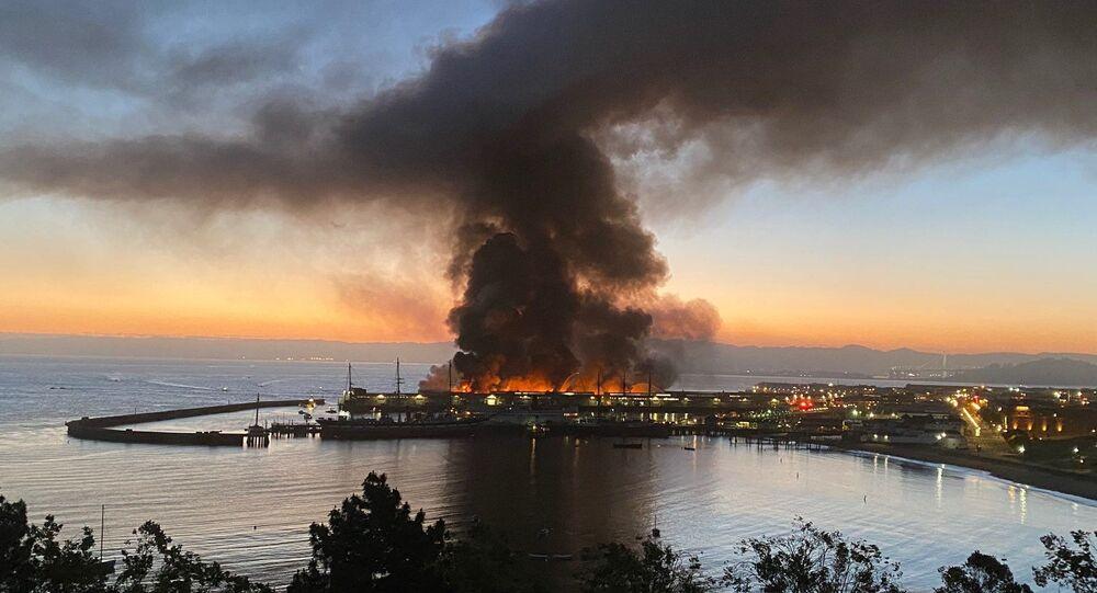 Fire at Shed C warehouse at Fisherman's Wharf, San Francisco, California, US. 23.05.2020.