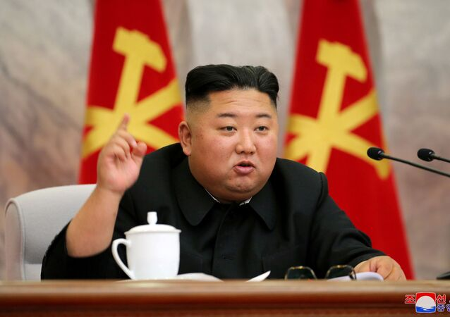 North Korean leader Kim Jong Un speaks during the conference of the Central Military Committee of the Workers' Party of Korea in this image released by North Korea's Korean Central News Agency (KCNA) on May 23, 2020.