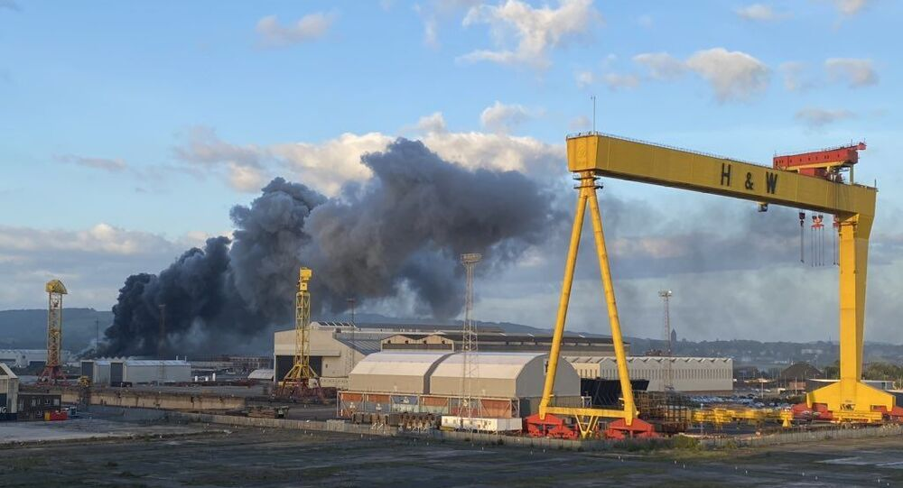 Fire broke out at Bombardier aerospace company site in Belfast, 24 May 2020
