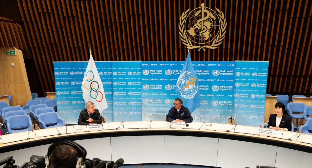 Tedros Adhanom Ghebreyesus, Director general of the World Health Organization (WHO) and Thomas Bach, President of International Olympic Committee (IOC), take part in the signing ceremony of Memorandum of Understanding to collaborate on advancing global health, including in the promotion of physical activity and control of noncommunicable diseases (NCDs) in Geneva, Switzerland, May 16, 2020