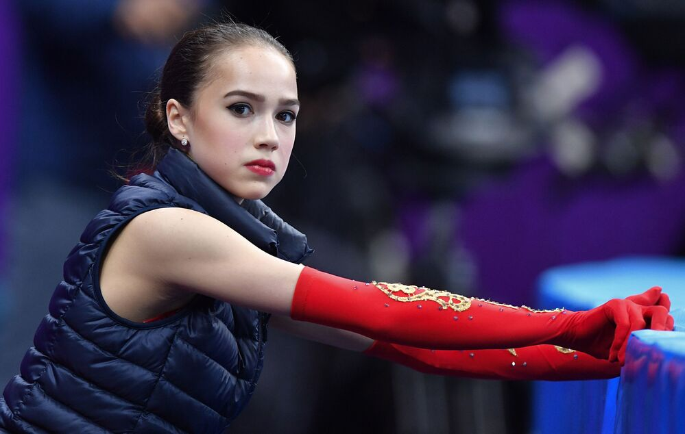 Zagitova getting ready for a free programme at the 23rd Winter Olympics.