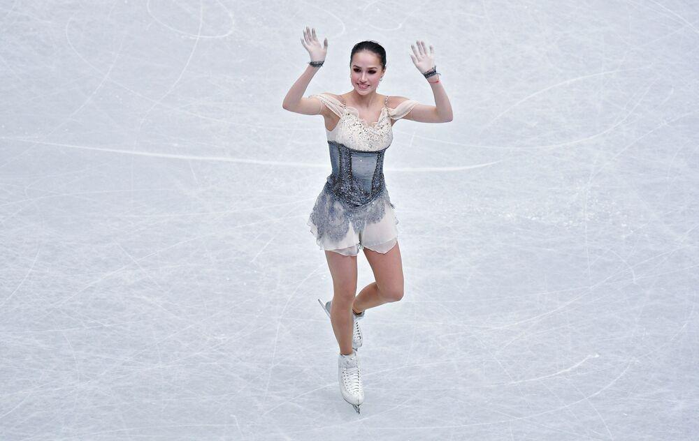 Zagitova performs during a short programme at the World Figure Skating Championships in Saitama.