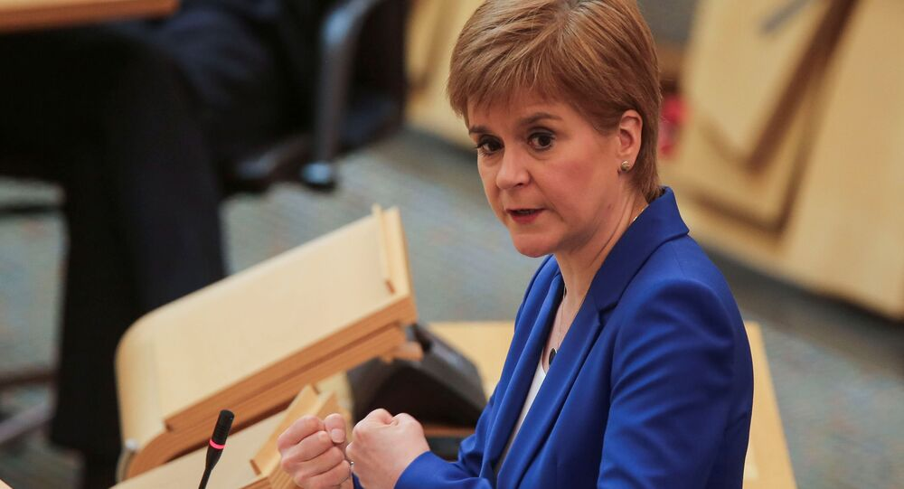 Scotland's First Minister Nicola Sturgeon speaks during the First Ministers Questions, amid the coronavirus disease (COVID-19) outbreak, at the Scottish Parliament in Edinburgh, Scotland, Britain May 13, 2020