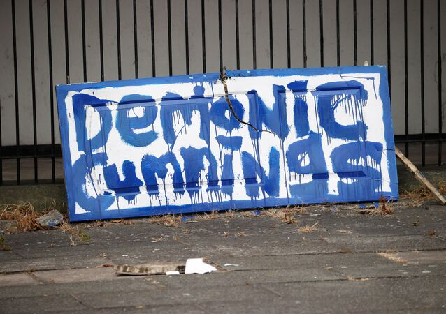 A sign referring to Dominic Cummings is seen on a street in Liverpool,following the outbreak of the coronavirus disease (COVID-19), Liverpool, Britain, May 26, 2020.