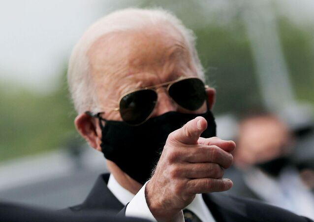 Democratic U.S. presidential candidate and former Vice President Joe Biden is seen at War Memorial Plaza during Memorial Day, amid the outbreak of the coronavirus disease (COVID-19), in New Castle, Delaware, U.S. May 25, 2020.