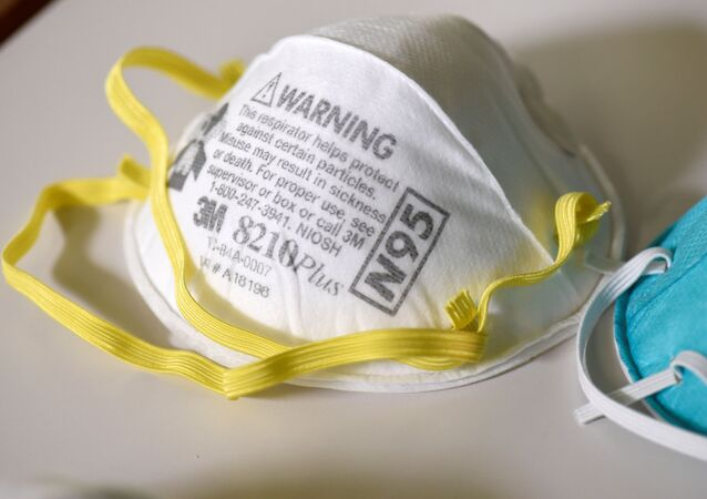 Various N95 respiration masks at a laboratory of 3M, which has been contracted by the US government to produce extra masks in response to the country's novel coronavirus outbreak, in Maplewood, Minnesota, 4 March 2020