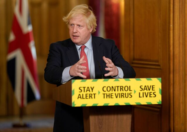 Britain's Prime Minister Boris Johnson holds a daily news conference with Public Health England's (PHE) Medical Director Yvonne Doyle (not pictured), on the coronavirus disease (COVID-19) outbreak, at 10 Downing Street in London, Britain May 25, 2020