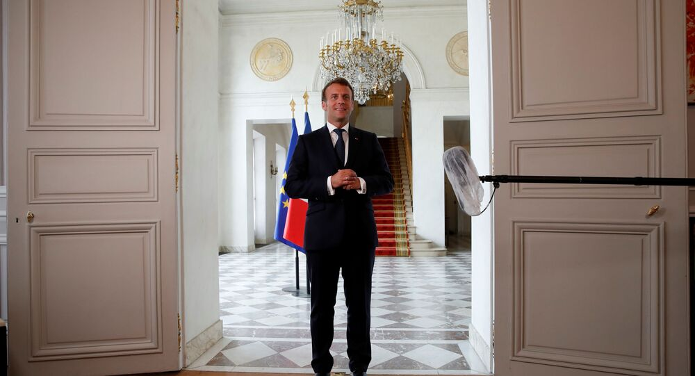 French President Emmanuel Macron delivers a statement after an international videoconference on vaccination at the Elysee Palace in Paris during the outbreak of the coronavirus disease (COVID-19) in France, May 4, 2020