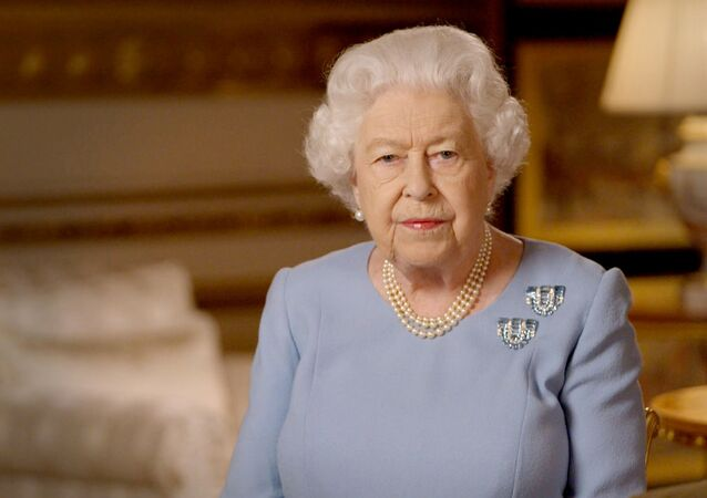 Britain's Queen Elizabeth II delivers an address to the nation and the Commonwealth on the 75th anniversary of VE Day at Windsor Castle, Britain, in this Buckingham Palace handout image released 8 May 2020